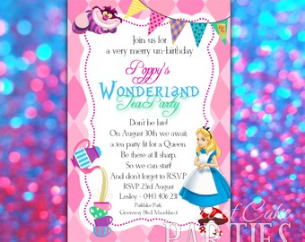 ALICE WONDERLAND Tea Party Shaped Personalized Invitations Set of 12
