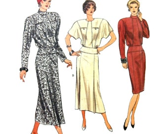 1986 Vogue 9678 Misses' Blouson Bodice, Straight Skirt Dress with Detailed Seams, Uncut, Factory Folded Sewing Pattern Size 8-10-12