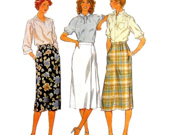 80's Style 2681 Straight Below Mid-Knee Length Skirts with Waist Shaping or Side Pleats, Uncut, Factory Folded Sewing Pattern Size 8-10