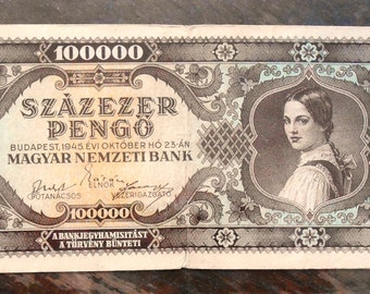 Banknote Hungary 100,000 Pengo  Budapest 1945 VF