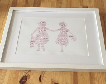 Framed word art, little girls holding hands design, gift idea for friends, sisters, nursery accessory, twins, fully Personalised