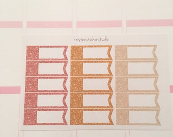 Gold, Rose Gold, White Gold Label Flag Planner Stickers