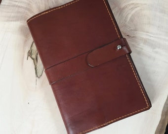 Leather A5 Journal Cover, Diary Cover, Sketch Book Cover personalised hand made and hand stitched