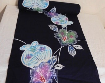 Hand dyed Kimono length--Tsutsugaki technique