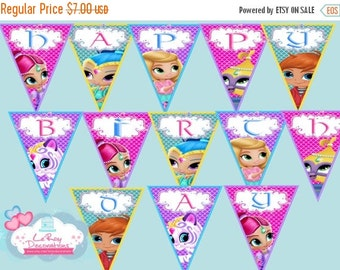 15 % Shimmer and Shine Birthday Banner,Shimmer and Shine Birthday Decoration