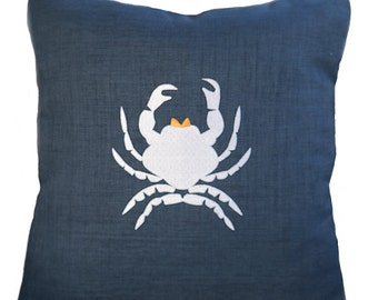 INDOOR - OUTDOOR  Embroidered Coastal Crab Pillow Cover