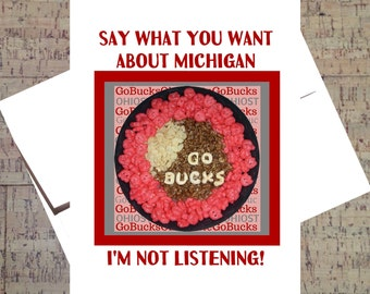 Ohio State Card, Buckeye Card, Funny Card, OSU, Scarlet And Gray, Ohio State Buckeyes, Humor Card, Cereal