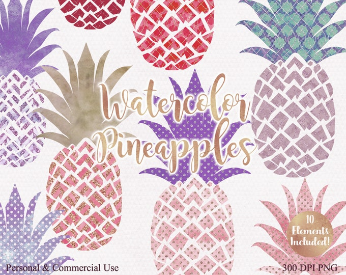 PINK & PURPLE PINEAPPLE Clipart Commercial Use Clip Art Fun Tropical Clipart with Metallic Glitter 10 Watercolour Pineapple Planner Clip art