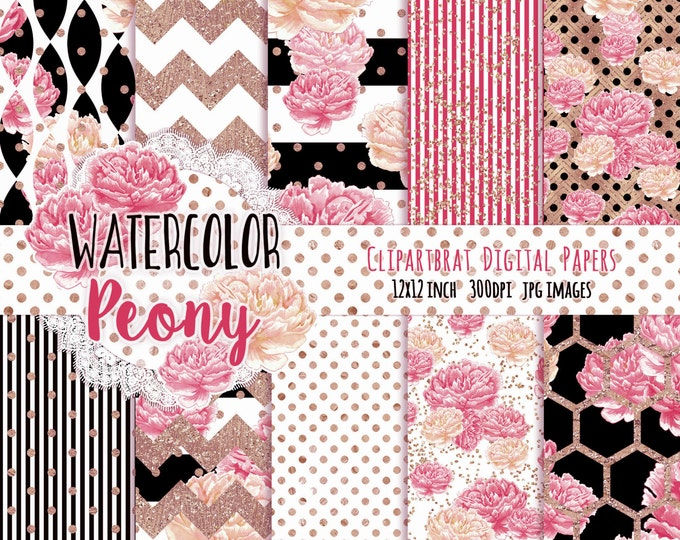 WATERCOLOR FLOWER Digital Paper Pack Black White Pink & Rose Gold Commercial Use Backgrounds Peony Stripes Shabby Chic Scrapbook Paper Pack