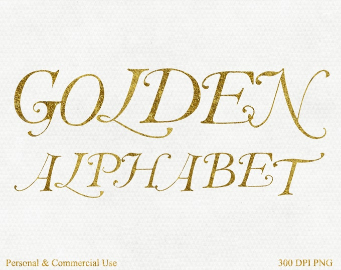 GOLD FOIL ALPHABET Clipart Commercial Use Monogram Alphabet Letters Digital Gold Font Alpha Gold Monogram Alphabet Letters Png