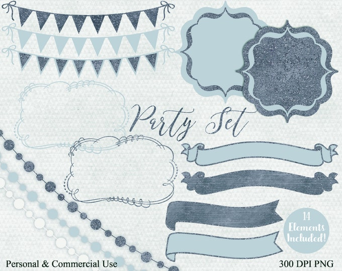 GRAY BLUE PARTY Clipart Commercial Use Clip Art Glitter Banner Bunting Frame Banner Birthday Planner Shower Wedding Invitation Clip Art