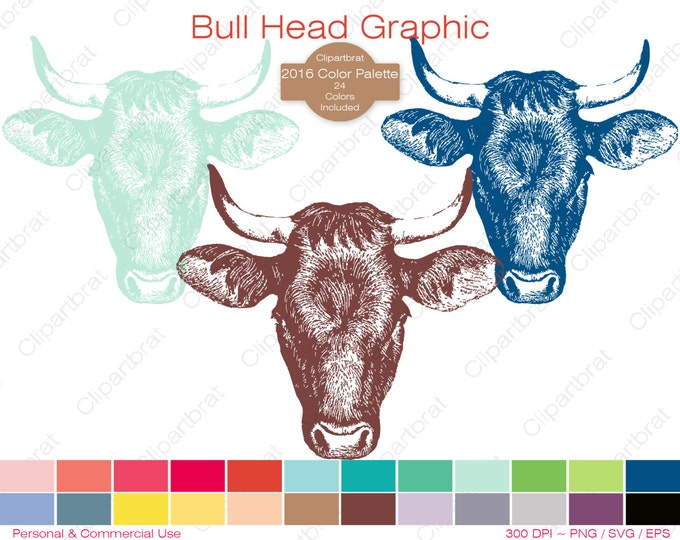 BULL HEAD Clipart Commercial Use Clipart Cow Head Graphic 2016 Color Palette 24 Colors Vector Graphic Bull Horns Digital Sticker Png Eps Svg