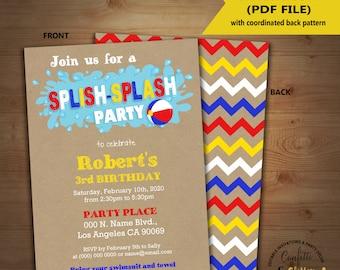 Splish Splash pool party birthday invitation summer party kraft invite Instant Download editable text printable invite 5235