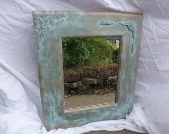 cottage chic wall mirror,up cycled  wooden  frame mirror,hand made decoration,decoupaged frame,home decor