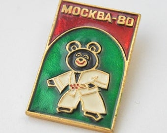 Vintage USSR Olympic Games 1980 in Moscow talisman Misha Pin Badge; aluminium