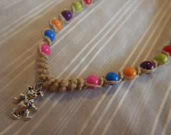 Grateful Dead Bear Necklace,Hemp Necklace,Tie-Dye Theme,Colorful Beads,Graetful Dead Bear Charm,Dancing Bears,Grateful Dead Necklace