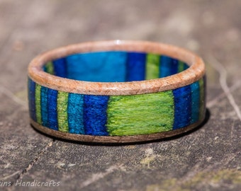 Blue Green Maple Wood Ring -  SpectraPly Inlay Wooden Men Women Wedding Band Engagement Ring Couple Ring Wood Anniversary Stripe Multicolor