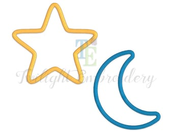 Set of 2 Star Applique Machine Embroidery Designs, Moon Applique Machine Embroidery Design 0014