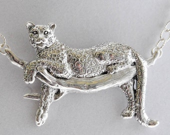 Sterling Silver Handmade Silver Leopard in a Tree Necklace
