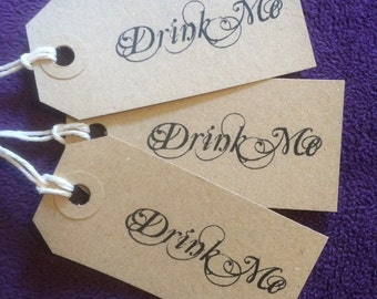 Handmade Alice In Wonderland Inspired 'Drink Me' Tags. 10x Drink Tags. Wedding Drink Tags. Kraft. Vintage. Brown. Party.