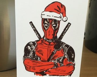 Deadpool Christmas Card. A6. PRINT