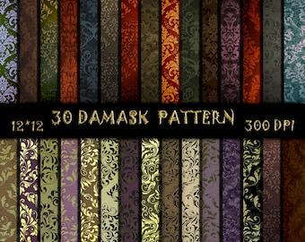 30 Gold Damask texture Vintage Damask digital paper Wedding background Royal Damask Vintage Damask digital paper Scrapbooking Damask paper