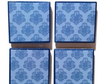 Doctor Who Tardis Print Tile Magnets set of 4 2x2