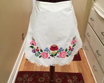 White Embroidered Apron