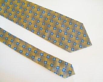 Vintage English pure silk tie by MICHELSONS  Handmade tie Wide yellow blue jacquard necktie Frequent checkered flowers necktie Mod