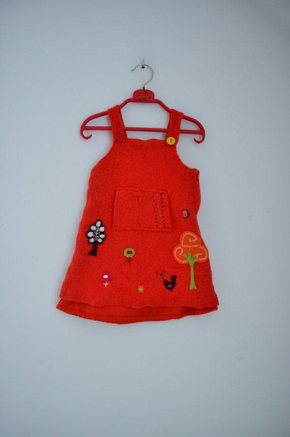 baby clothes baby dress 18   24 months orange wool toddler
