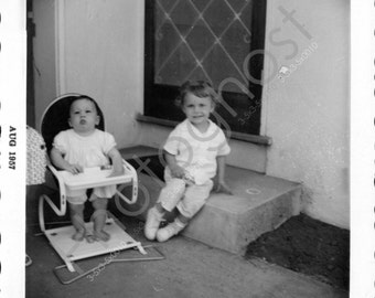 "Sisters! ""August 1957"" - Baby - Girl - Front Steps - Vintage Snapshot - 1950s"