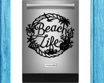 Beach Life Dishwasher Decal, Beach Life Appliance Decal, Dishwasher Decal, Kitchen Decal, Craft Decal, Home Decor Decal