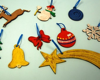 Wood Christmas tree ornaments - crafts