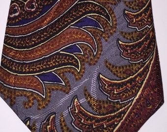 Vintage Burberrys of London silk tie, rich hues of brown/gold/red