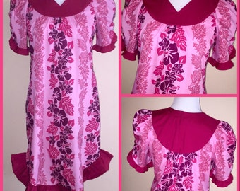 Vintage CAROL BENNETT Pink Hibiscus Floral Print Ruffle Puff Sleeve Hawaiian Aloha Party Dress sz S Small