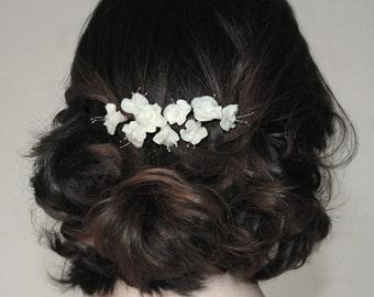 Hair comb Cold porcelain Bridal  Little flowers Headpiece