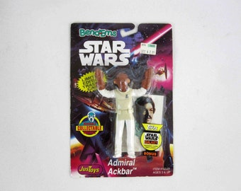 Vintage Star Wars Bend-Ems Admiral Ackbar Action Figure. Mint on Card. Circa 1994.