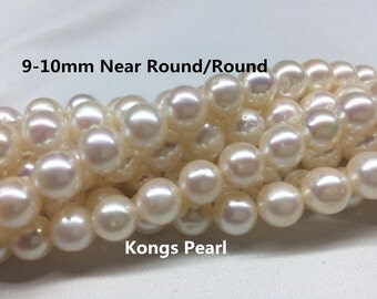 9-10mm Near Round Freshwater Pearl Necklace, Round Loose Pearl Strand, Full Strand, AA Quality,Natural White Cultured Pearl Necklace