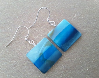 Shades of the Ocean Square Earrings