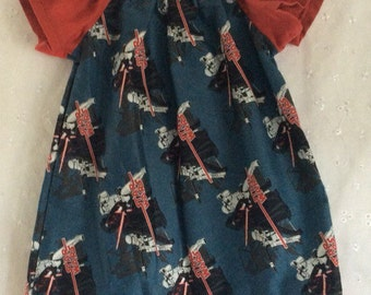 Girls dress, 18-24m made with Star Wars Kylo Ren fabric.