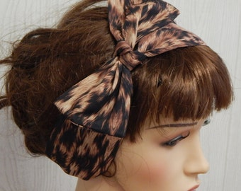 Retro self tie headband, animal print hairband, 1950s vintage style hair scarf, tie up headscarf bandana, hairscarf bow