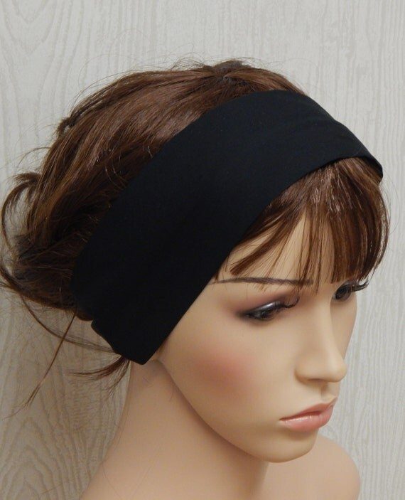 Exercise Hair Bands: Black Cotton Headband Workout Headband Yoga Headband Womens