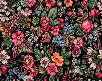 "Calico Floral Fat Quarter 100% Cotton Fabric 18"" x 22"" - Black # 46"