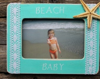 Beach Baby Frame, Starfish Frame, Beach Photo Frame, Vacation Picture Frame