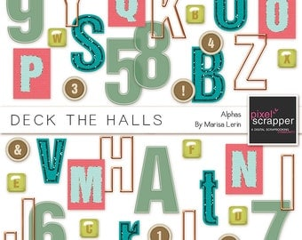 Deck the Halls Alphabet Kit - Digital Scrapbooking, digital elements, christmas, INSTANT DOWNLOAD, commercial use