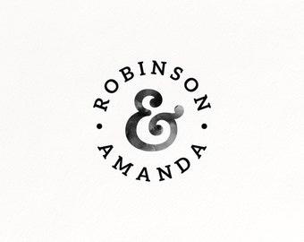 Custom Ampersand Logo, Custom Watermarl, Modern Wedding Logo, Watercolor Logo, Ampersand Logo