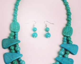 Turquoise  Jewelry Set earrings and necklace set