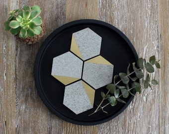 Gold Tipped Grey Stone Hexagon Coasters