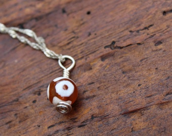 "Orange Glass ""Evil Eye"" Charm/Pendant"