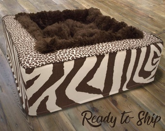 Luxury Pet Bed with Zebra & Leopard Fabrics |  Dog Bed or Cat Bed - Plush Brown Blanket Inside - Washable, Ready to Ship!